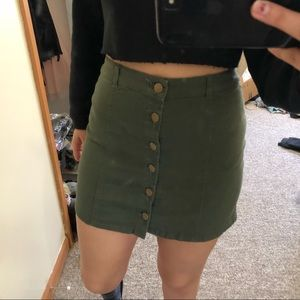 OLIVE GREEN FRONT BUTTON SKIRT